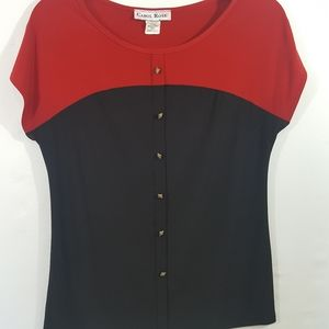 Carol Rose Knit Pullover Red and Black Top Size Sm